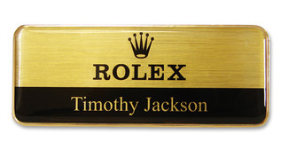 Prestige Premium name badges - Gold border and brushed gold / black background | www.namebadgesinternational.ae
